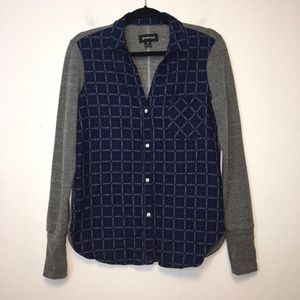 Betabrand Blue and Gray Lumberjill Plaid Shirt